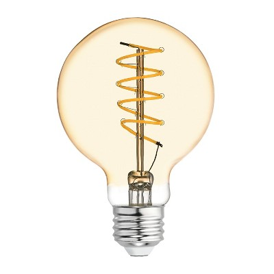 General Electric VintaG25 Globe Spiral Amber LED Light Bulb White
