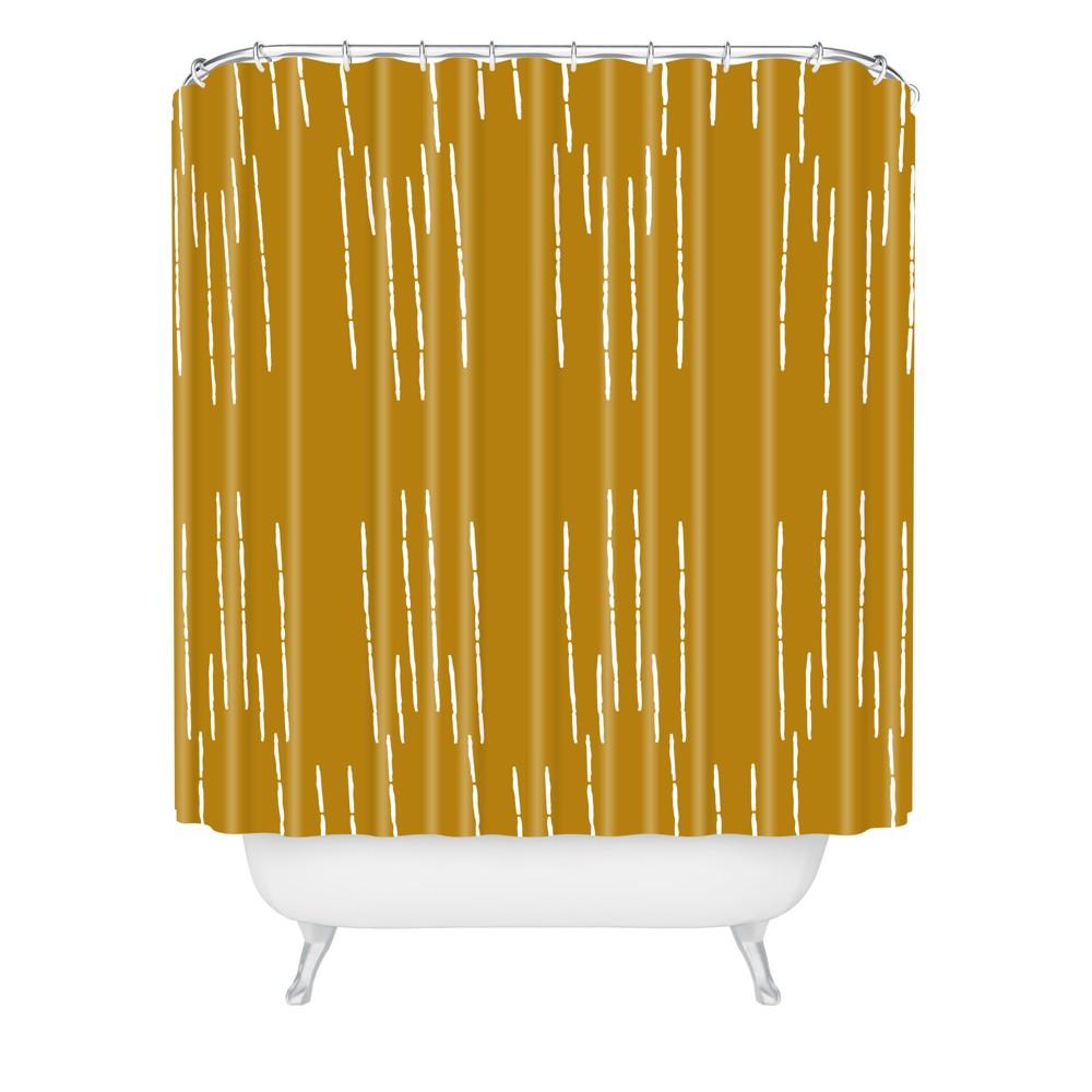 La Jardin Noir Iii Shower Curtain Mustard Deny Designs