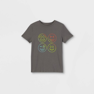 Boys' Short Sleeve Emoji Graphic T-Shirt - Cat & Jack™ Gray