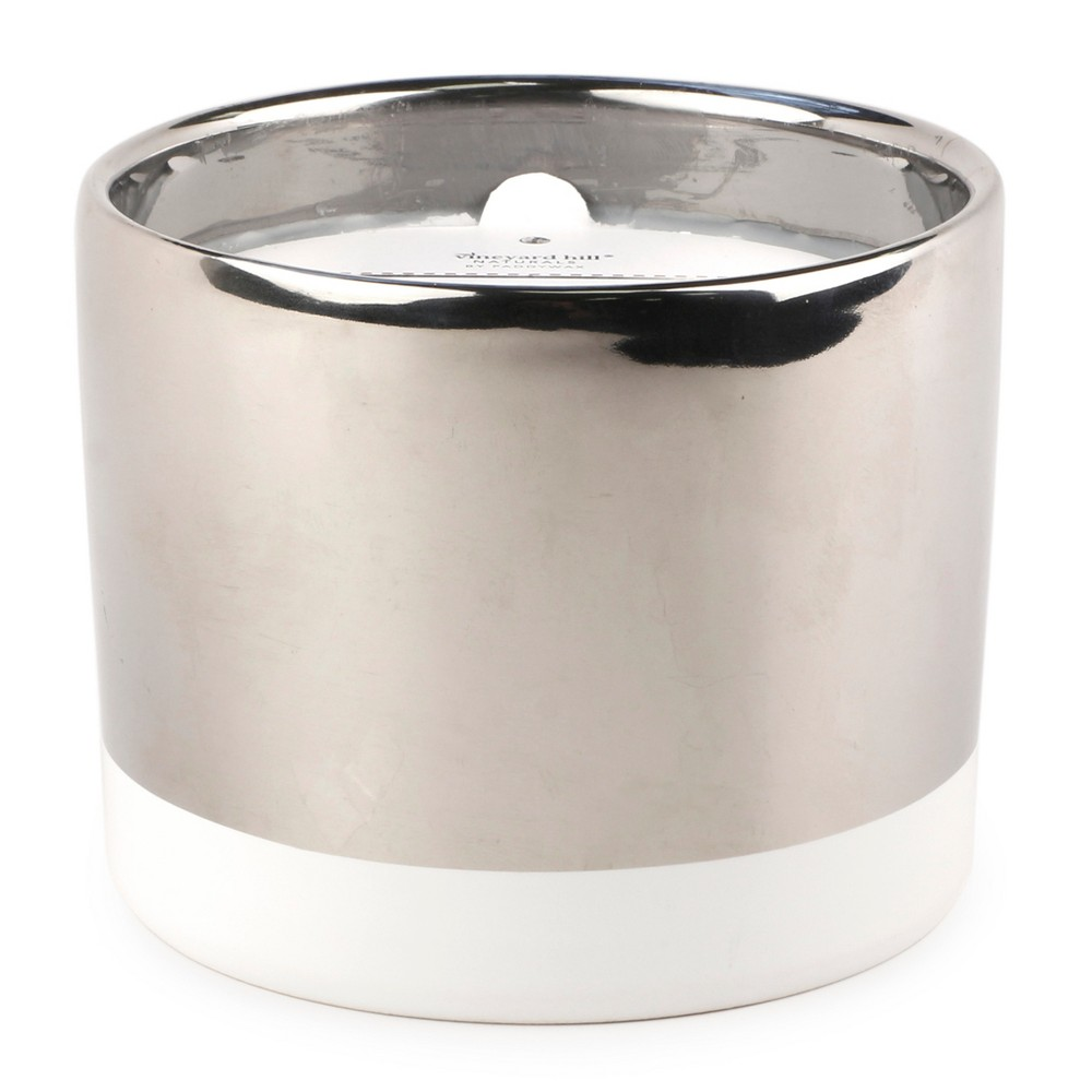 3-Wick Silver Ceramic Candle Whiskey and Oak 12oz - Vineyard Hill Naturals by Paddywax