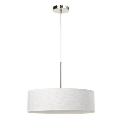"""18"""" x 18"""" x 14"""" LED Metal Dimmable Pendant with Diffuser and Hardback Fabric Shade White - Cal Lighting"""