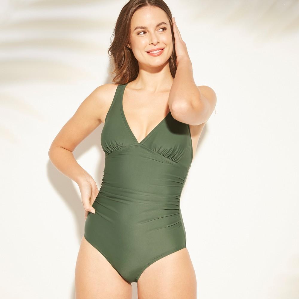 Women's Tall/Long Torso Strappy Back One Piece Swimsuit - Kona Sol Dark Green M