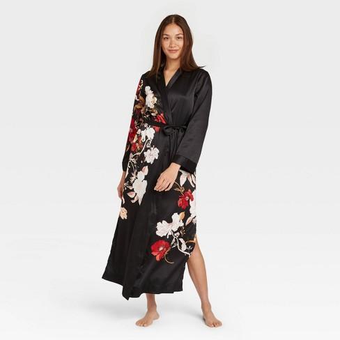 Women's Floral Print Satin Robe - Stars Above™ Black - image 1 of 2
