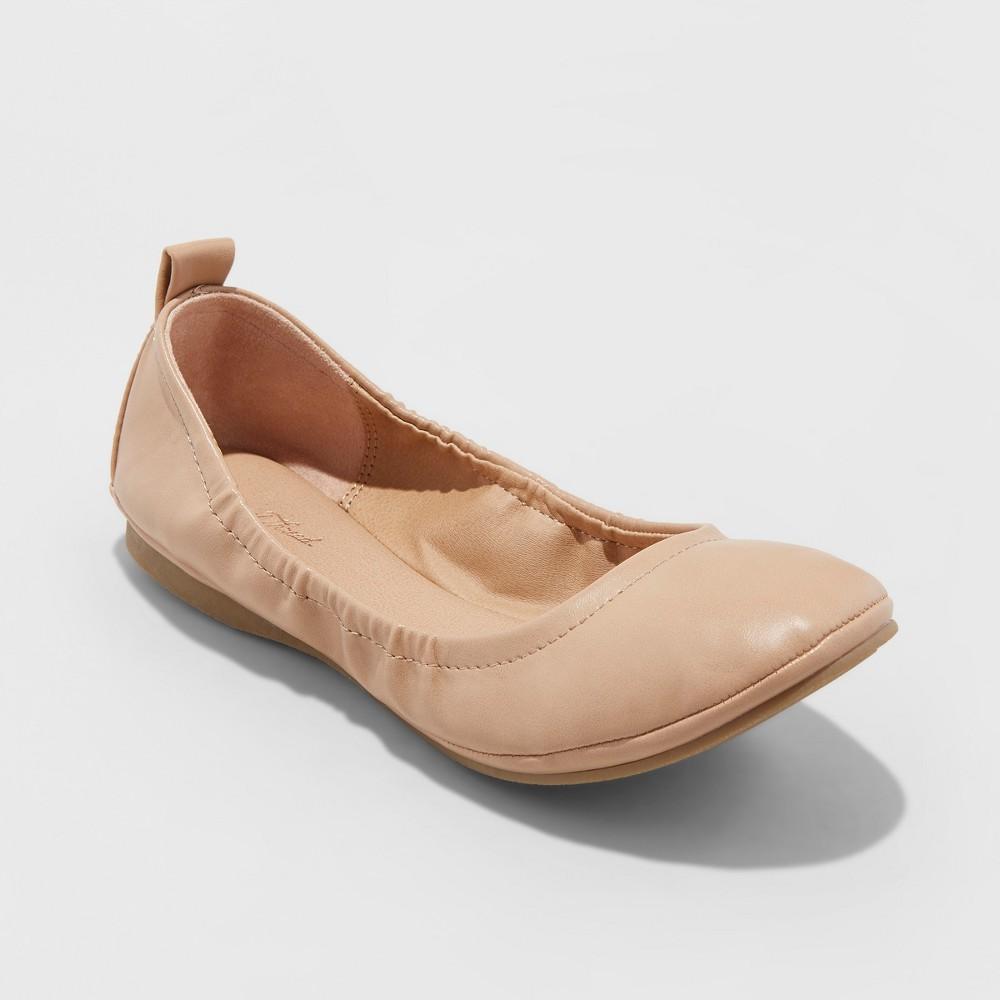 Women's Delaney Microsuede Wide Width Round Toe Ballet Flats - Universal Thread Beige 5.5W, Size: 5.5Wide