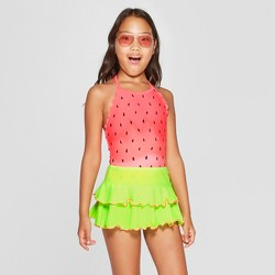 2d8ffae99e128 Recommended. More to consider. Guests ultimately bought. $19.99. Girls' One  in Melon One Piece with Skirt Swimsuit - Cat & Jack™ Coral