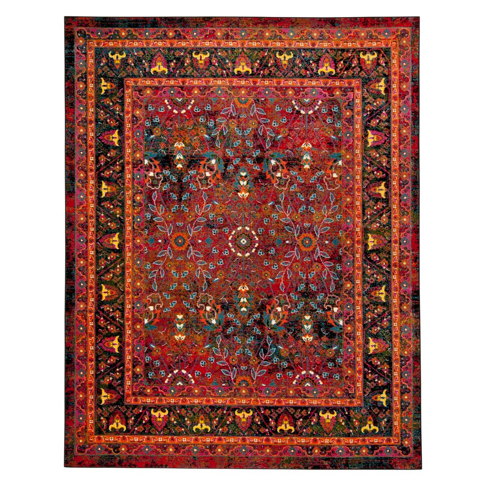 8'X10' Leaf Loomed Area Rug Red/Black - Safavieh