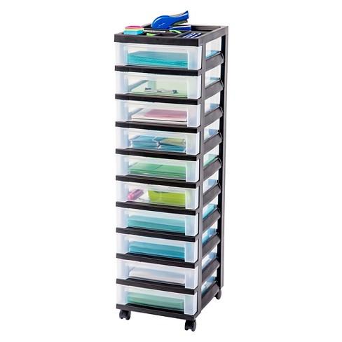 Iris 10 Drawer Rolling Storage Cart Black Target