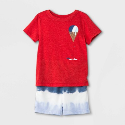 Toddler Boys' Ice Cream Short Sleeve T-Shirt and French Terry Tie-Dye Shorts Set - Cat & Jack™ Red