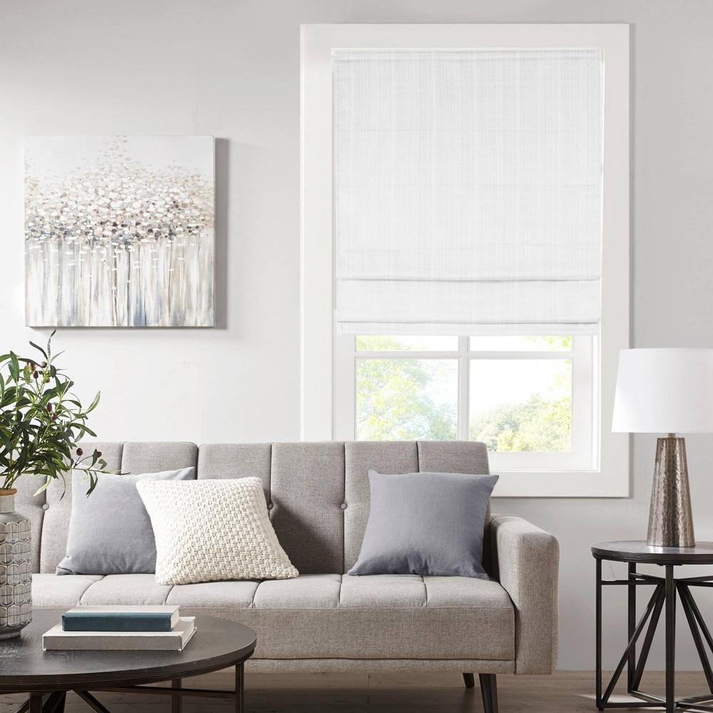 33 34 X64 34 Paxton Basketweave Cordless Roman Room Darkening Window Shade White