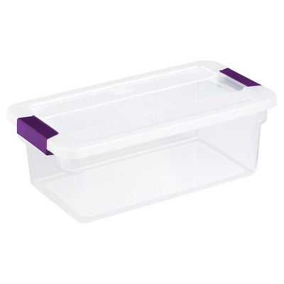 Sterilite 6 Qt ClearView Latch Box Clear with Purple Latches