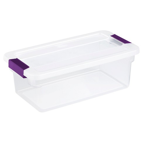 Sterilite 6 Qt Clear View Box Clear with Latches Purple - image 1 of 4