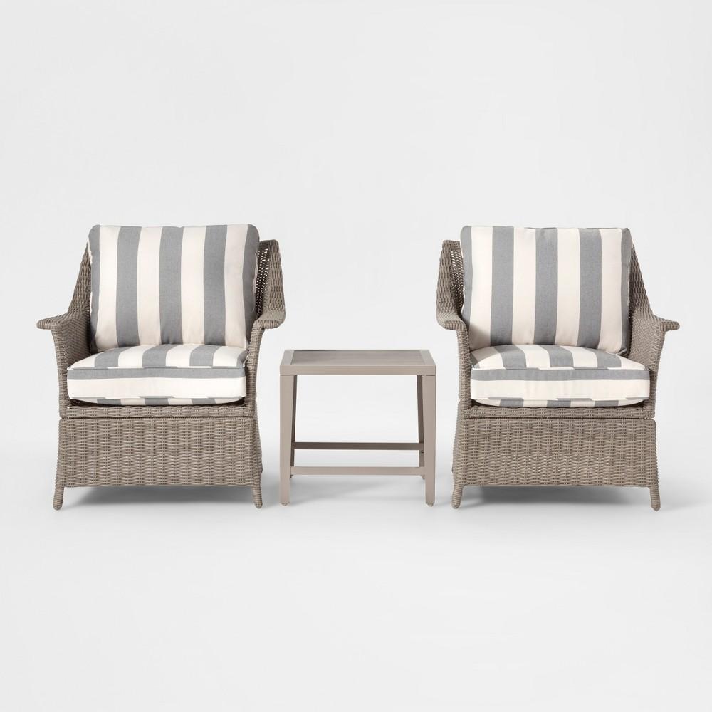 Foxborough 3pc Cabana Stripe Patio Chat Set - Gray/White - Threshold