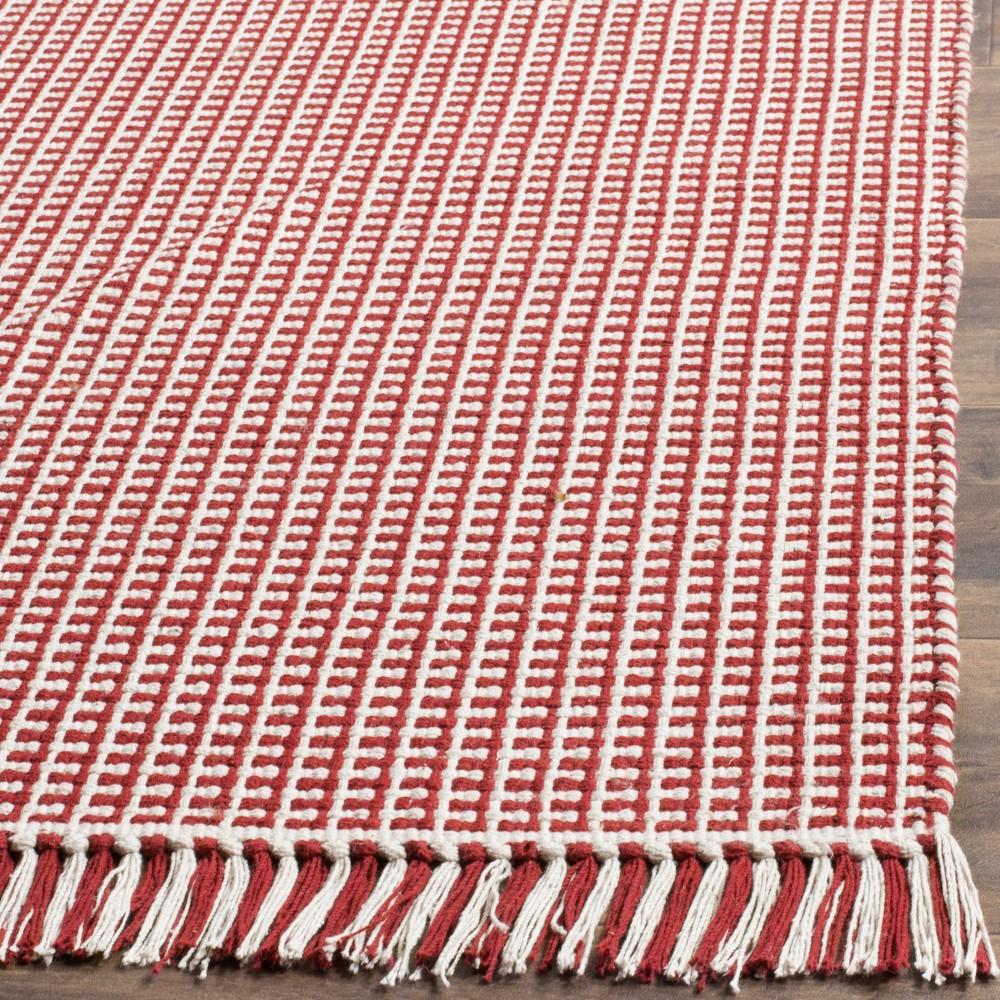 6'x6' Stripe Flatweave Rug Woven Square Area Rug Ivory/Red - Safavieh