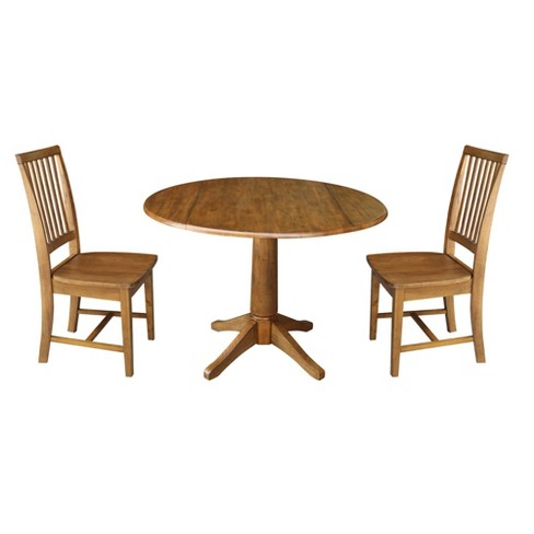42 Leo Dual Drop Leaf Dining Table And Two Chairs Brown International Concepts
