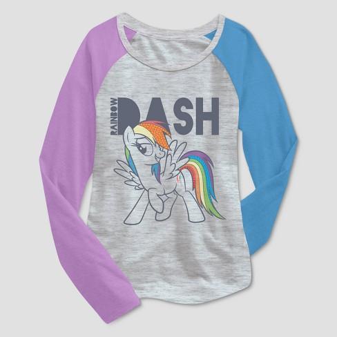 3b4ac0ad791 Girls  My Little Pony Rainbow Dash Long Sleeve T-Shirt - Heather Gray