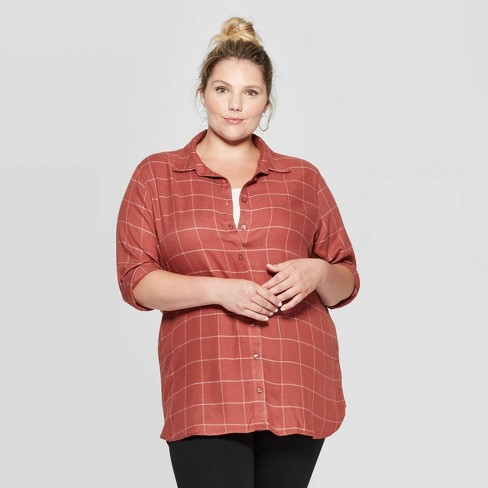 Women's Plus Size Plaid Long Sleeve Collared Button-Down Tunic Shirt -Ava & Viv™ - image 1 of 2