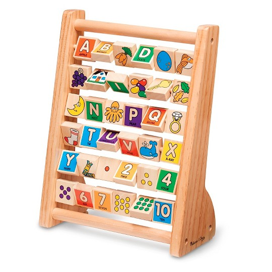 Melissa & Doug ABC-123 Abacus - Classic Wooden Educational Toy With 36 Letter and Number Tiles image number null