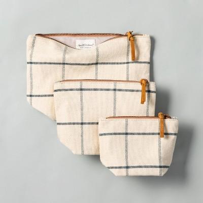 3pc Windowpane Plaid Canvas Travel Case Set - Hearth & Hand™ with Magnolia