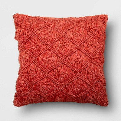 Square Heathered Macramé Throw Pillow Berry - Opalhouse™