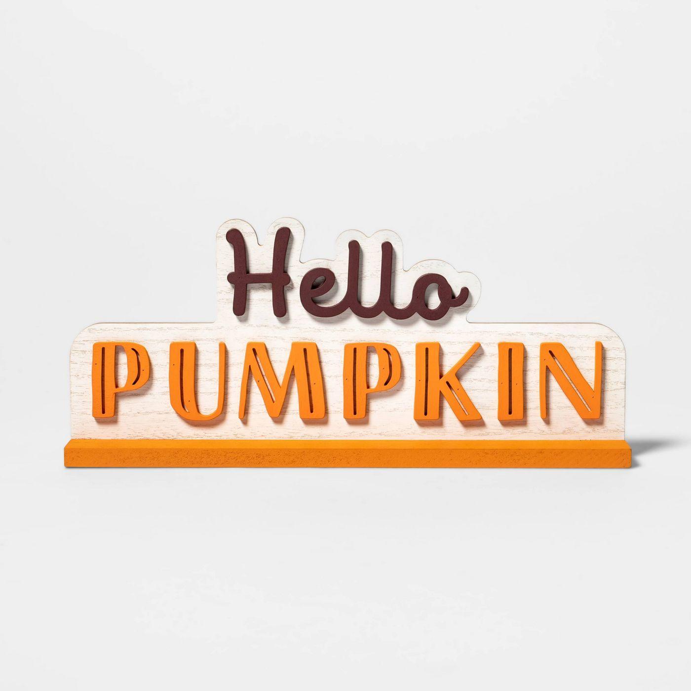 Hello Pumpkin Decorative Halloween Sign - Spritz™ - image 1 of 1
