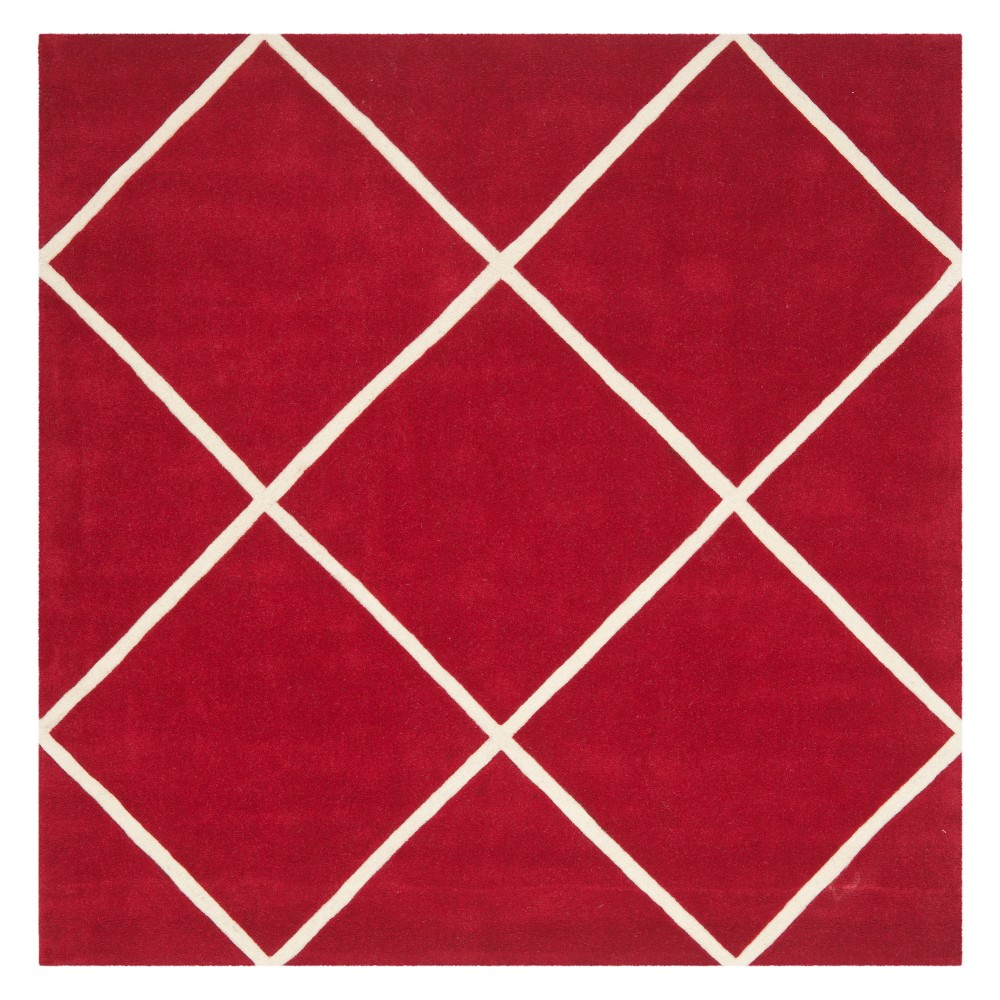 7'X7' Geometric Tufted Square Area Rug Red/Ivory - Safavieh