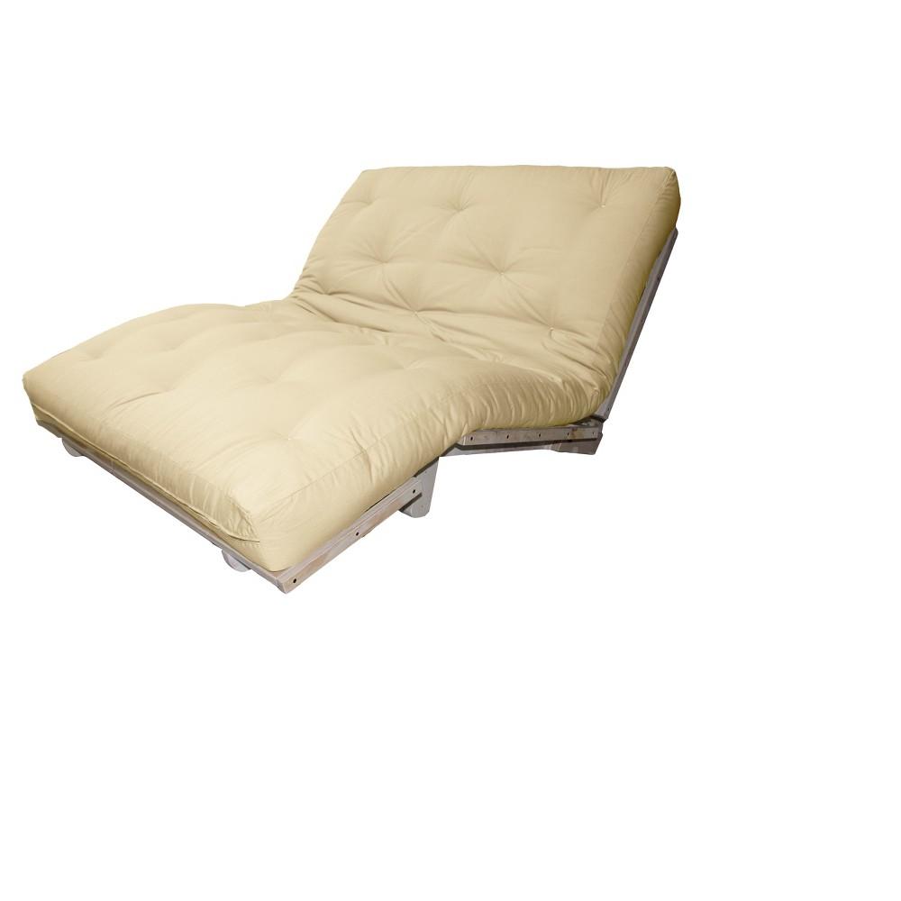 8 Cotton Filled Sit, Lounge or Sleep Futon Sofa Sleeper Bed Twill Fabric Ivory - Epic Furnishings