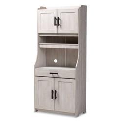 6 Shelf Portia Kitchen Storage Cabinet White - Baxton Studio