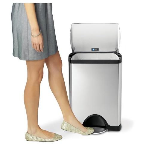 Simplehuman 30 Liter Rectangular Step Trash Can Fingerprint Proof