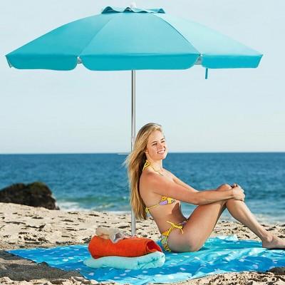 Costway 6.5FT Patio Beach Umbrella Sun Shade Tilt W/Carry Bag Blue