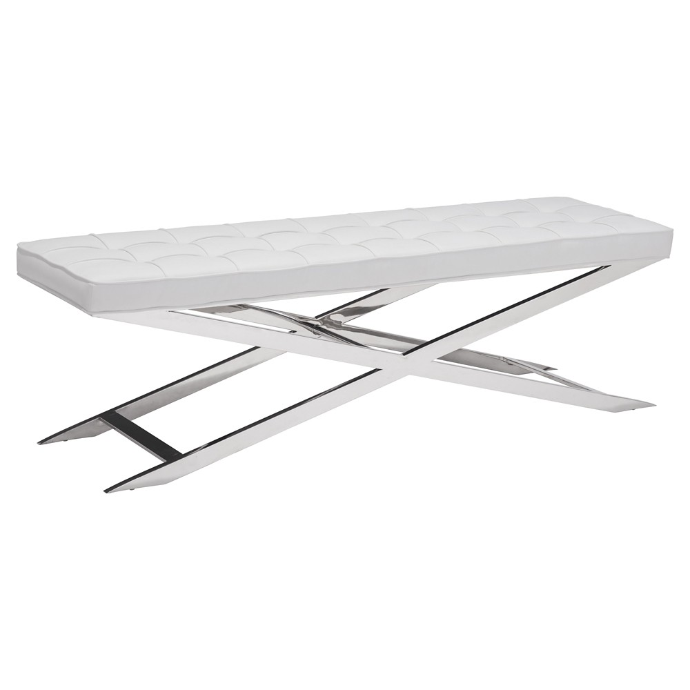 Modern 59 Tufted Upholstery and Stainless Steel Bench - ZM Home, White