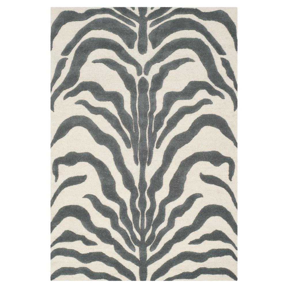 4'X6' Zebra stripe Area Rug Dark Gray - Safavieh, Dark Grey