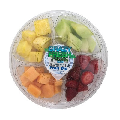 Crazy Fresh Round Fruit Tray with Dip - 2.5lb