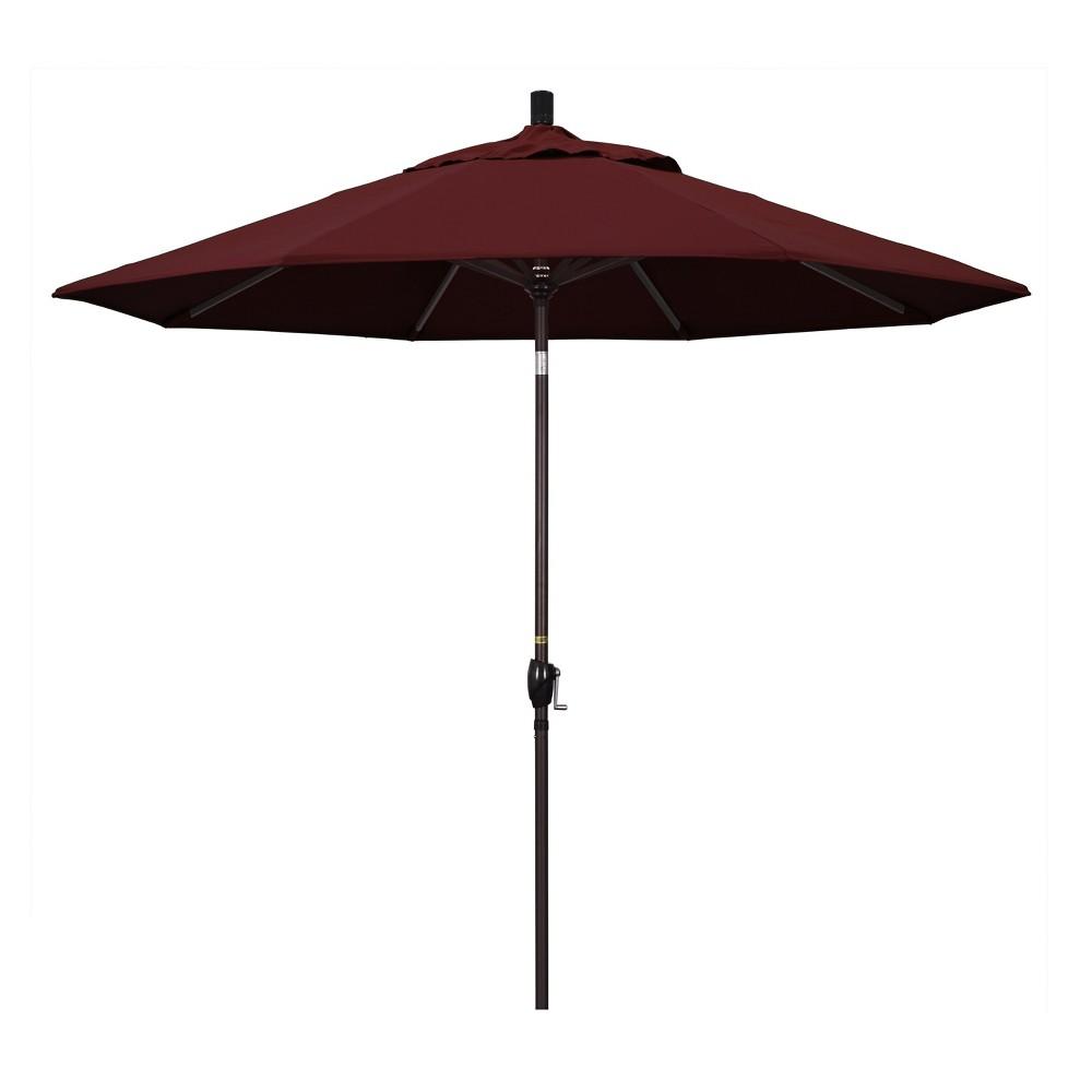 Image of 9' Aluminum Collar Tilt Crank Patio Umbrella - Red Pacifica