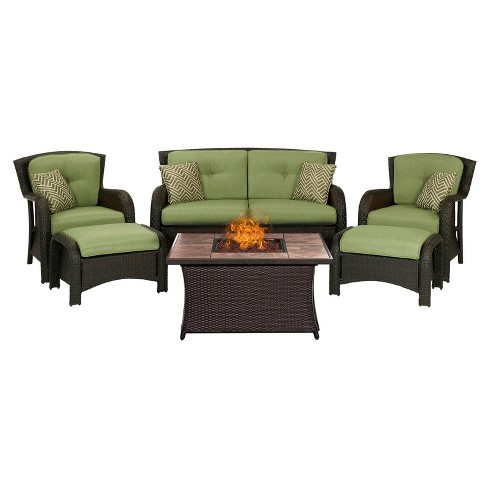 Strathmere 6pc All-Weather Wicker Patio Conversation Set w/Fire Pit Table - Hanover - image 1 of 11