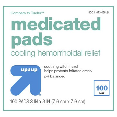 Medicated Hemorrhoidal Pads - 100ct - Up&Up™