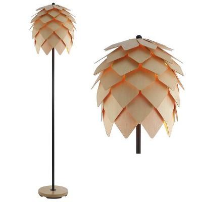 "63"" Wood/Metal Simon Pinecone Floor Lamp (Includes LED Light Bulb) Brown - JONATHAN Y"
