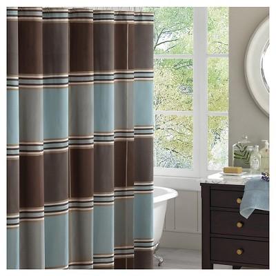 Bradley Striped Jacquard Shower Curtain Brown/Blue