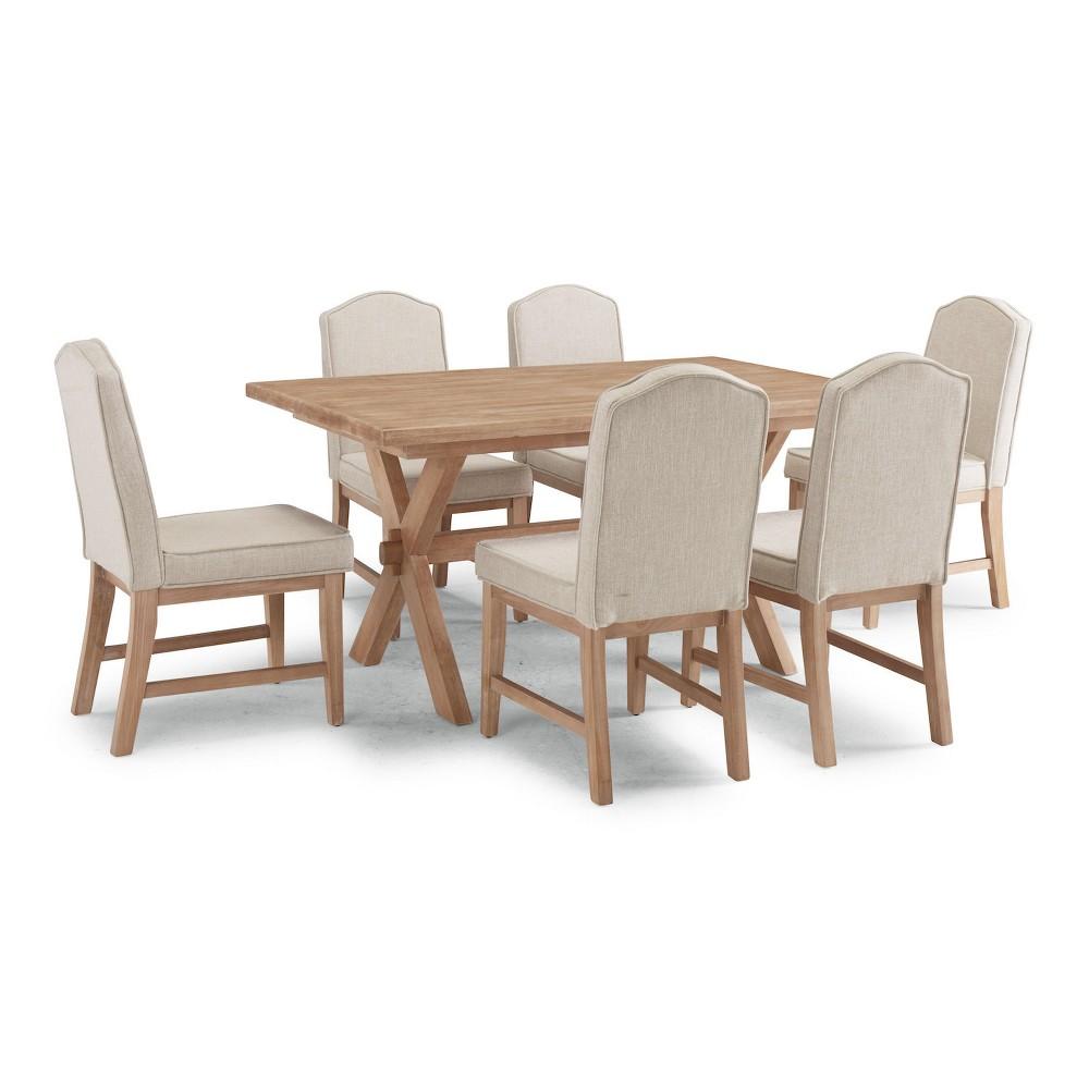 Image of 7pc Cambridge Rectangular Trestle Dining Table Group White Washed - Home Styles