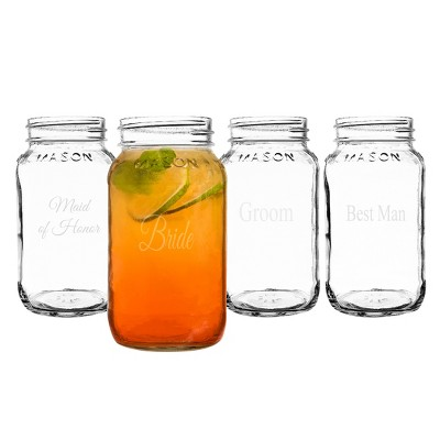 4ct Wedding Party Mason Jars