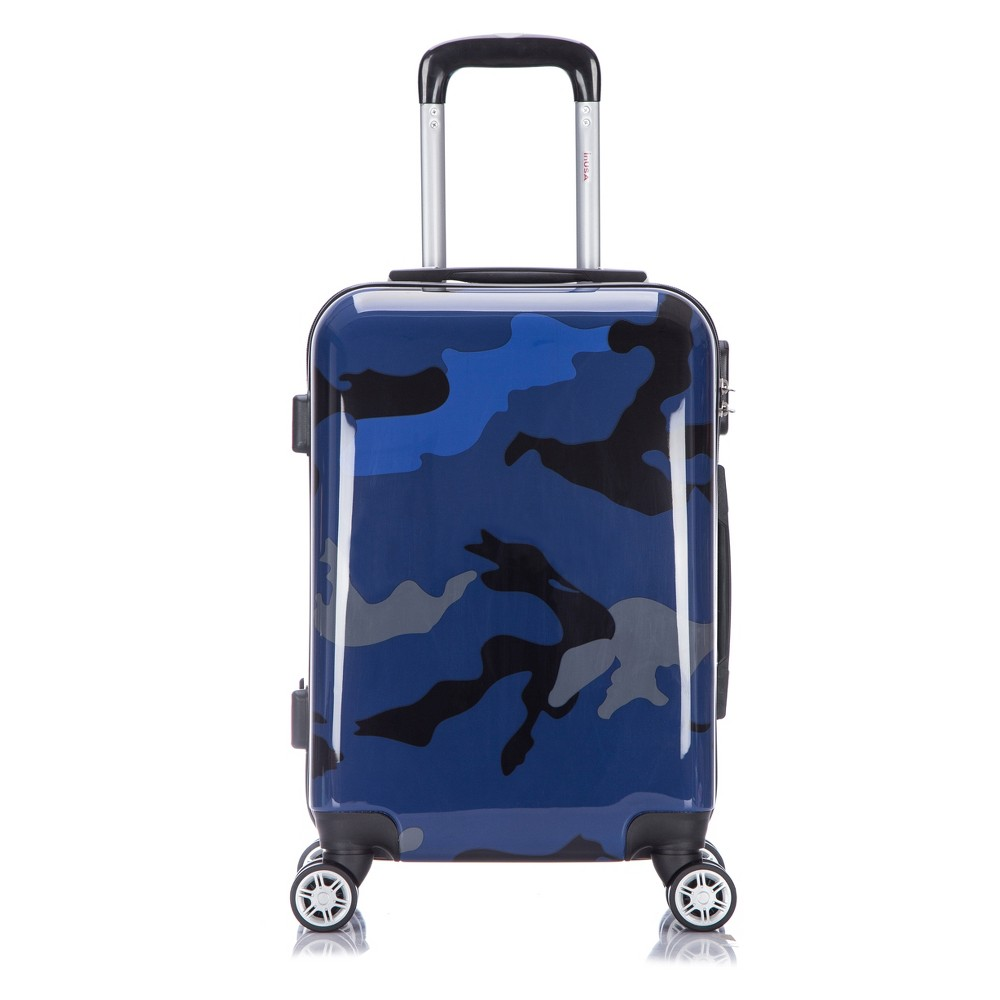 InUSA Prints 20 Hardside Spinner Carry On Suitcase - Blue Camouflage