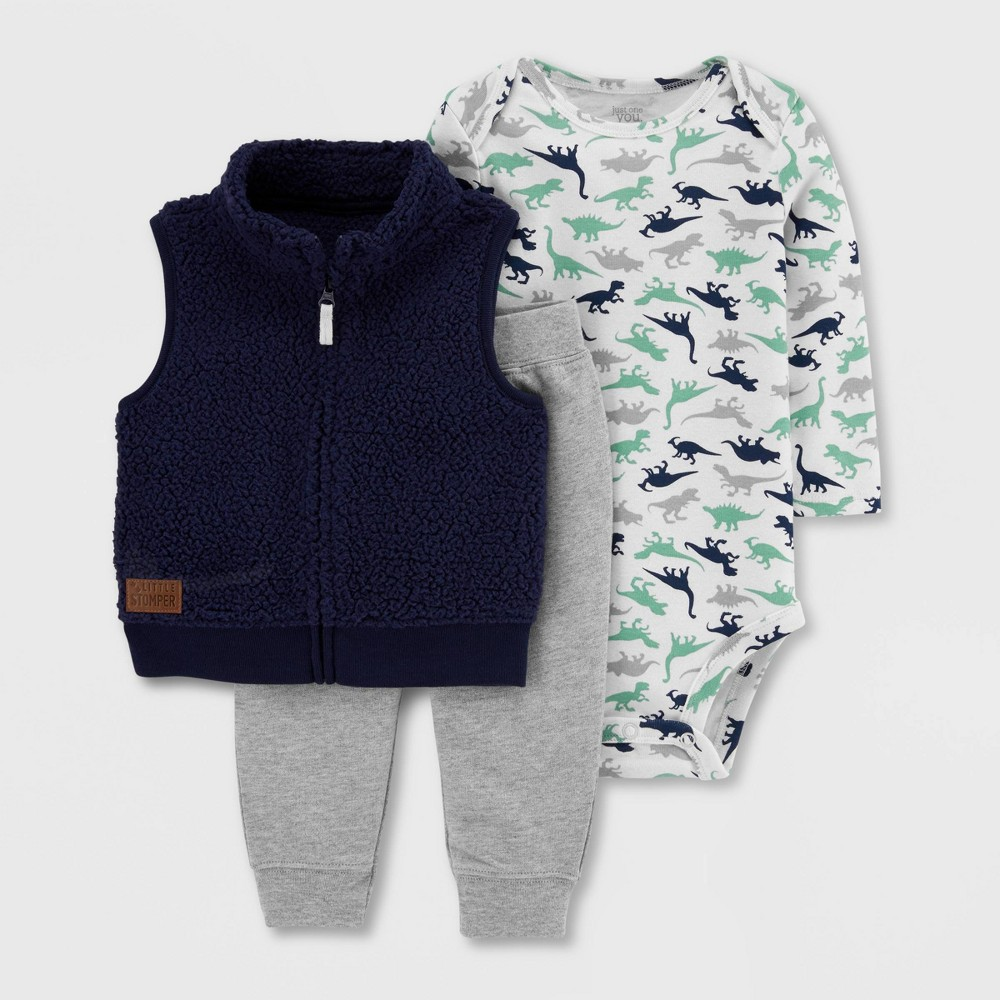 Baby Boys' 3pc Dino Print Vest Top & Bottom Set - Just One You made by carter's Navy 24M, Boy's, Size: Small, Blue was $14.99 now $8.0 (47.0% off)