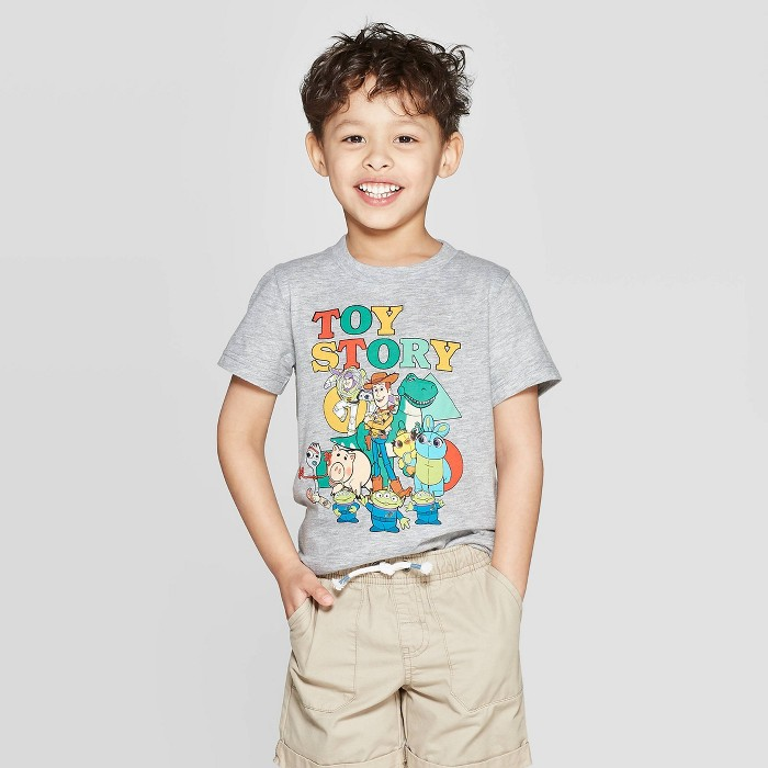 Toddler Boys' Toy Story Short Sleeve T-Shirt - Gray 12M - image 1 of 3