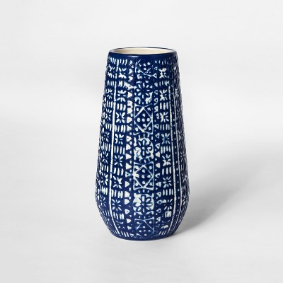 7.8  x 3.8  Stoneware Block Print Vase White/Blue - Threshold™