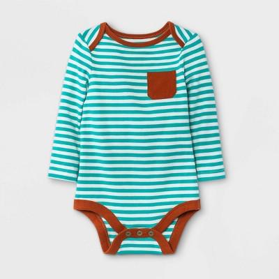 Baby Boys' Striped Long Sleeve Bodysuit with Pocket - Cat & Jack™ Jade Green 0-3M
