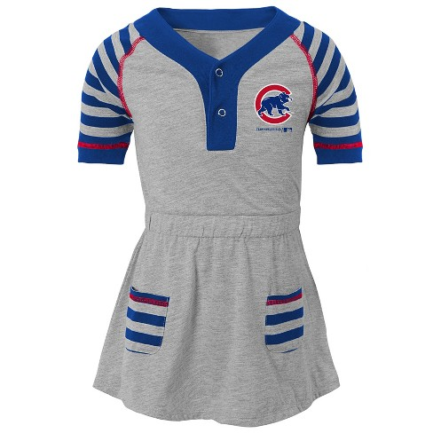 uk availability 619f3 26e27 Chicago Cubs Girls' Striped Gray Infant/Toddler Dress - 2T