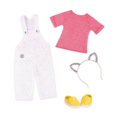 "Glitter Girls Glisten & Glam Overalls & Cat Ears Outfit for 14"" Dolls"