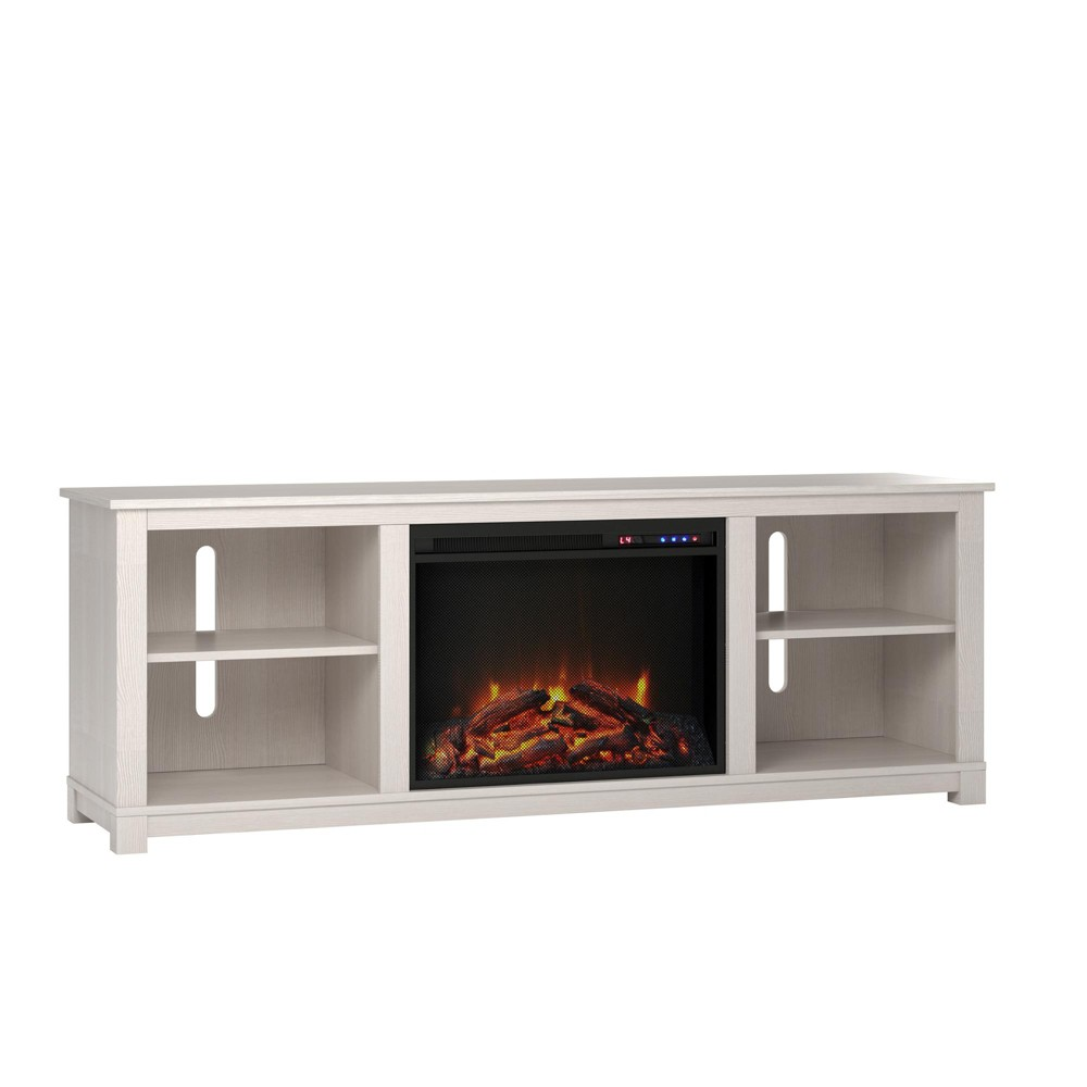 60 Brenner TV Console with Fireplace Ivory - Room & Joy