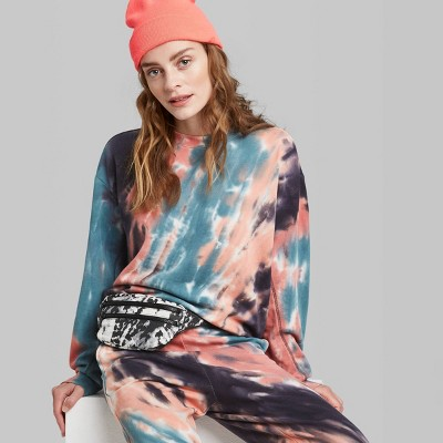 Women's Oversized Crewneck Tie-Dye Sweatshirt - Wild Fable™ Coral/Blue