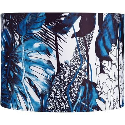 Springcrest Blue Leaves Drum Lamp Shade 15x15x11 (Spider)