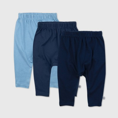 Honest Baby Boys' 3pk Organic Cotton Cuff-Less Harem Pants - Blue 0-3M